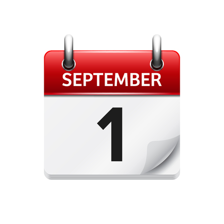 september 1: September  1. Vector flat daily calendar icon. Date and time, day, month. Holiday.