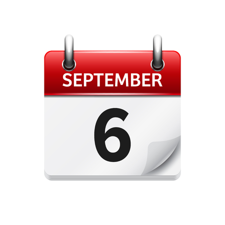 time of the day: September  6. Vector flat daily calendar icon. Date and time, day, month. Holiday.