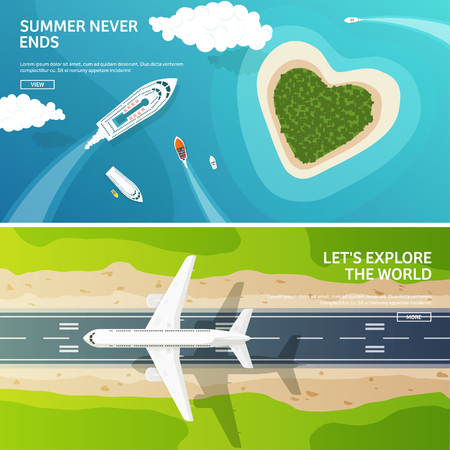 plane landing: Vector illustration. Travel and tourism. Airplane, aviation. Summer holidays, vacation. Plane landing. Flight, air travelling.  Sky, aerial, tropical background. Journey.  Island, sea, boats. Paradise.