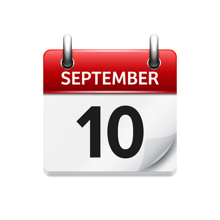 September  10. Vector flat daily calendar icon. Date and time, day, month. Holiday.