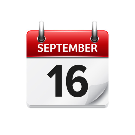 September  16. Vector flat daily calendar icon. Date and time, day, month. Holiday.
