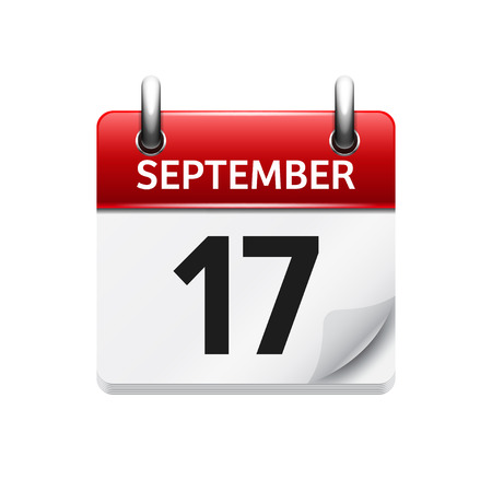 September  17. Vector flat daily calendar icon. Date and time, day, month. Holiday.