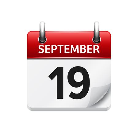 19: September  19. Vector flat daily calendar icon. Date and time, day, month. Holiday. Illustration