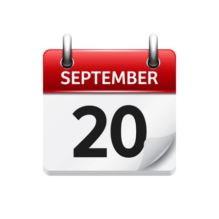 time of day: September  20. Vector flat daily calendar icon. Date and time, day, month. Holiday.