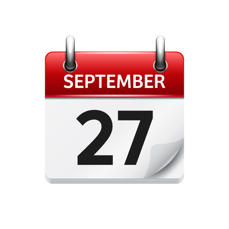 27 września. Wektor ikona płaski kalendarz dzienny. Data i godzina, dzień, miesiąc. Wakacje. Ilustracje wektorowe
