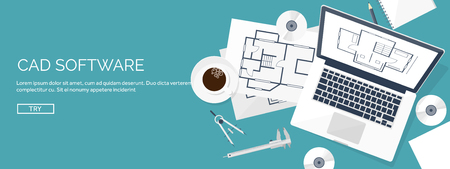 Vector illustration. Engineering and architecture. Notebook, software. Drawing, construction.  Architectural project. Design, sketching. Workspace with tools. Planning and building. 向量圖像