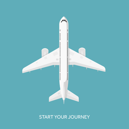 airline pilot: Vector illustration. Plane, airplane. Flat background. Travel and tourism. Illustration