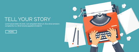 Vector illustratie. Flat schrijfmachine. Vertel je verhaal. Auteur. Bloggen. Stock Illustratie