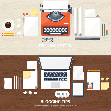 author: Vector illustration.  Flat typewriter.Laptop with hands. Tell your story. Author. Blogging. Wood texture