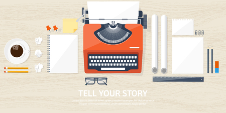 typewriting machine: Vector illustration.  Flat typewriter. Tell your story. Author. Blogging. Wood background.