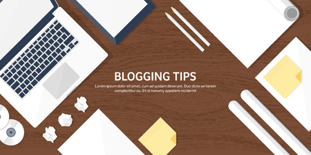 blogging: Vector illustration.  Flat laptop. Tell your story. Author. Blogging. Message.