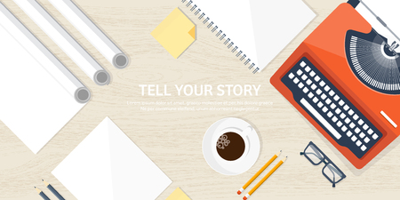 author: Vector illustration.  Flat typewriter. Tell your story. Author. Blogging. Wood background.