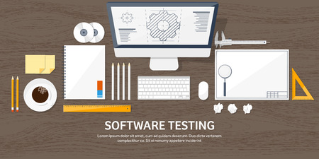 speciality: Vector illustration. Engineering and architecture. Notebook, computer . Drawing, construction.  Architectural project. Design, sketching. Workspace with tools. Planning, building. Wood background.