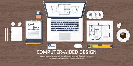 Vector illustration. Engineering and architecture. Notebook, computer . Drawing, construction.  Architectural project. Design, sketching. Workspace with tools. Planning, building. Wood background.