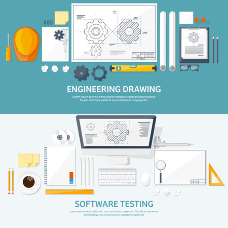 speciality: Vector illustration. Engineering and architecture. Notebook, computer . Drawing, construction.  Architectural project. Design, sketching. Workspace with tools. Planning, building.