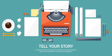 Vector illustration.  Flat typewriter. Tell your story. Author. Blogging. Illustration
