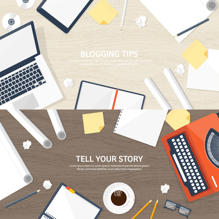 author: Vector illustration.  Flat typewriter.Laptop. Tell your story. Author. Blogging.Wooden texture, wood. Illustration