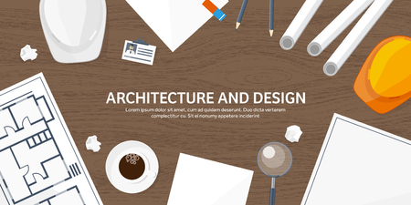speciality: Vector illustration. Engineering and architecture. Drawing, construction.  Architectural project. Design, sketching. Workspace with tools. Planning and building. Wooden background.