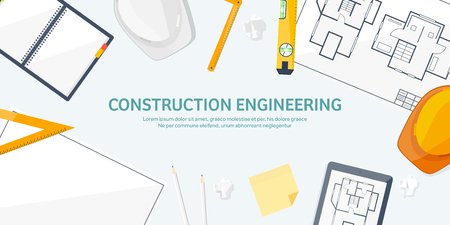 speciality: Vector illustration. Engineering and architecture. Drawing, construction.  Architectural project. Design, sketching. Workspace with tools. Planning and building.