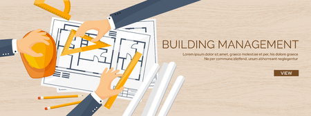 engineering design: Vector illustration. Engineering and architecture. Drawing, construction.  Architectural project. Design, sketching. Workspace with tools. Planning and building. Wooden background.
