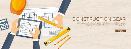architecture drawing: Vector illustration. Engineering and architecture. Drawing, construction.  Architectural project. Design, sketching. Workspace with tools. Planning and building. Wooden background.