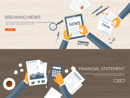 online news: Vector illustration. Flat header. Online news. Newsletter,information. Business, market information. Financial report.