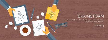 generating: Vector illustration. Flat header.  Creativity, generating ideas. Brainstorm, coffee pause. Working. Everyday routine.