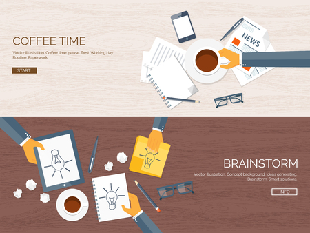 generating: Flat vector illustration backgrounds set. Creativity, generating ideas. Brainstorm, coffee pause. Working. Everyday routine.