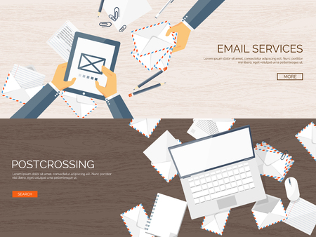 article marketing: Vector illustration. Flat background with envelope. Emailing concept background. Spam, sms writing.Lettering. New message.