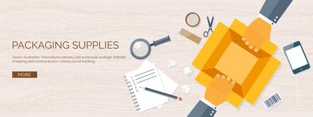 lie down: Flat vector illustration backgrounds set. International delivery, worldwide postage. Emailing,online shopping. Envelope,package.