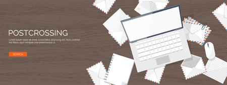correspondence: Ilustración del vector. de fondo plano con el sobre. Enviando un correo electrónico concepto de fondo. Correo no deseado, writing.Lettering sms. Nuevo mensaje. Vectores