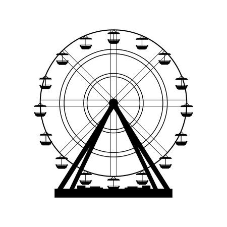 family park: Vector illustration. Ferris wheel. Carnival. Funfair background.