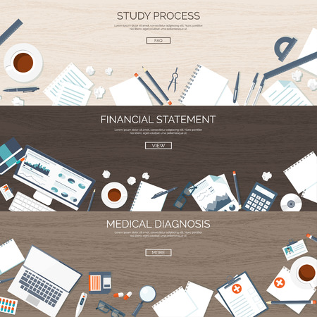 financial statement: Flat backgrounds set. Study process. Online education. Web courses,e-learning. Financial statement. Money making and saving. Business.First aid,medical help. Doctor,hospital. Diagnosis. Illustration