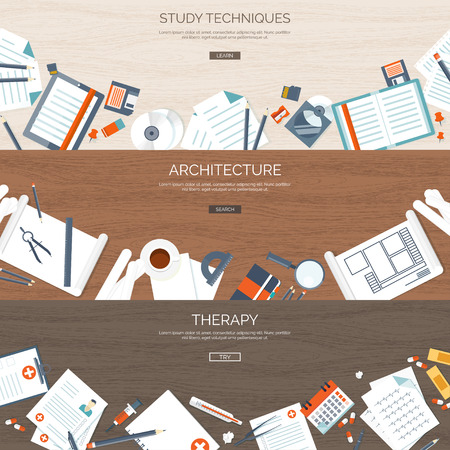 web courses: Flat backgrounds set. Study,online education. Web courses. E-learning. Architecture,design. Project. Therapy. First aid,medical help. Doctor and hospital.