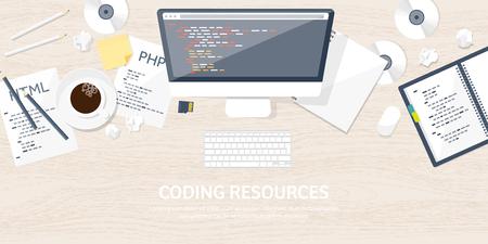 Programmeren, coderen. Flat computergebruik achtergrond. Code, hardware, software. Webontwikkeling. Zoek machine optimalisatie. Innovatie, technologieën. Applicatie voor de mobiele telefoon. Vector illustratie. SEO.