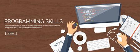 Programming,coding. Flat computing background. Code, hardware,software. Web development. Search engine optimization. Innovation,technologies. Mobile app. Vector illustration. SEO.