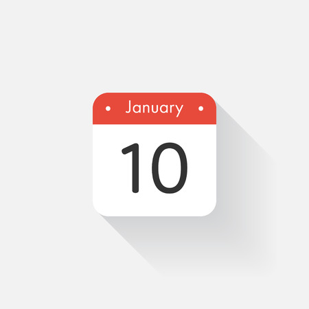 time bound: Calendar Icon with long shadow. Flat style. Date,day and month. Reminder. Vector illustration. Organizer application, app symbol. Ui. User interface sign. January.10 Illustration