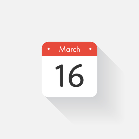 time bound: Calendar Icon with long shadow. Flat style. Date,day and month. Reminder. Vector illustration. Organizer application, app symbol. Ui. User interface sign. March.16