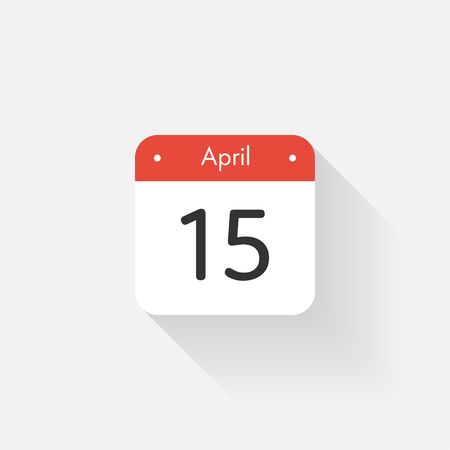 Calendar Icon with long shadow. Flat style. Date,day and month. Reminder. Vector illustration. Organizer application, app symbol. Ui. User interface sign. April. 15