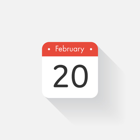 time bound: Calendar Icon with long shadow. Flat style. Date,day and month. Reminder. Vector illustration. Organizer application, app symbol. Ui. User interface sign. February.20