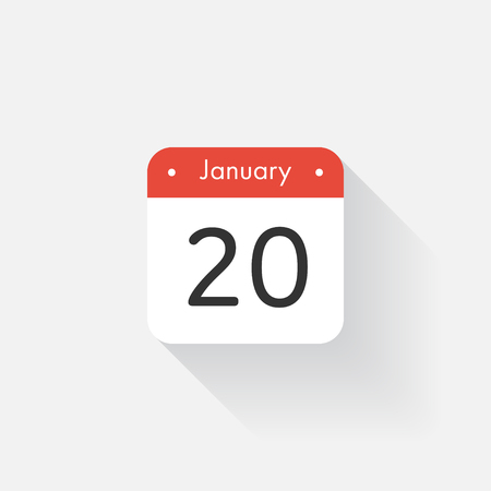 time bound: Calendar Icon with long shadow. Flat style. Date,day and month. Reminder. Vector illustration. Organizer application, app symbol. Ui. User interface sign. January.20