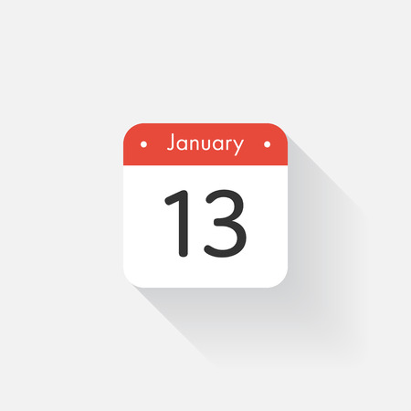 time bound: Calendar Icon with long shadow. Flat style. Date,day and month. Reminder. Vector illustration. Organizer application, app symbol. Ui. User interface sign. January.13