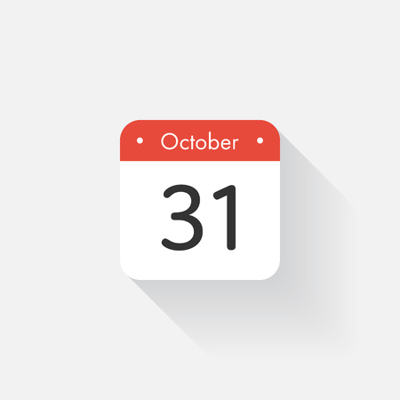 october 31: Calendar Icon with long shadow. Flat style. Date,day and month. Reminder. Vector illustration. Organizer application, app symbol. Ui. User interface sign.  October. 31