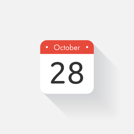 Calendar Icon with long shadow. Flat style. Date,day and month. Reminder. Vector illustration. Organizer application, app symbol. Ui. User interface sign.  October. 28 Ilustração