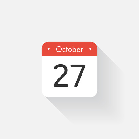 time bound: Calendar Icon with long shadow. Flat style. Date,day and month. Reminder. Vector illustration. Organizer application, app symbol. Ui. User interface sign.  October. 27