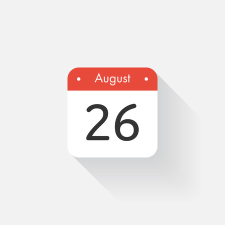 26: Calendar Icon with long shadow. Flat style. Date,day and month. Reminder. Vector illustration. Organizer application, app symbol. Ui. User interface sign. August. 26