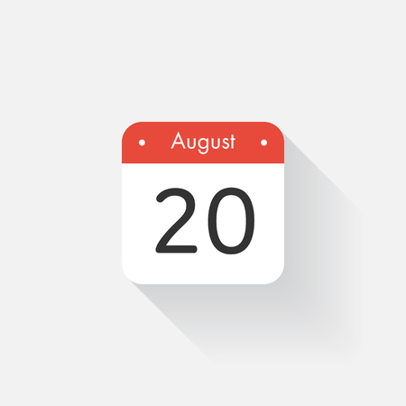 august: Calendar Icon with long shadow. Flat style. Date,day and month. Reminder. Vector illustration. Organizer application, app symbol. Ui. User interface sign. August. 20