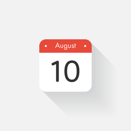 time bound: Calendar Icon with long shadow. Flat style. Date,day and month. Reminder. Vector illustration. Organizer application, app symbol. Ui. User interface sign. August. 10