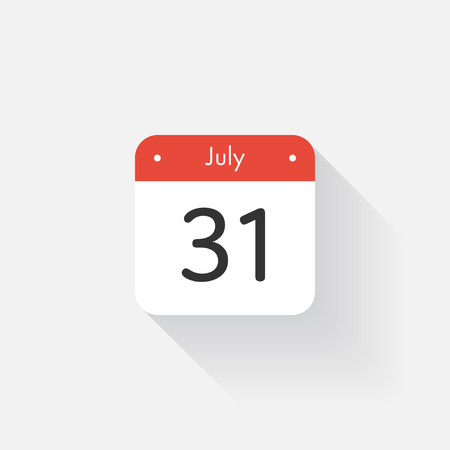 31: Calendar Icon with long shadow. Flat style. Date,day and month. Reminder. Vector illustration. Organizer application, app symbol. Ui. User interface sign. July. 31