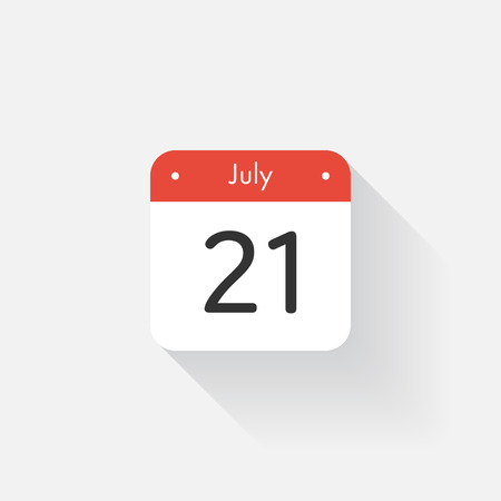 time bound: Calendar Icon with long shadow. Flat style. Date,day and month. Reminder. Vector illustration. Organizer application, app symbol. Ui. User interface sign. July. 21